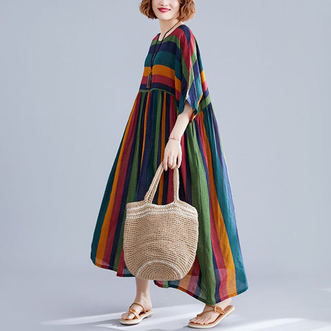 New Summer Dress Vintage Style Striped Comfortable Women's  Loose Maxi Dress Vestidos Robe Elbise