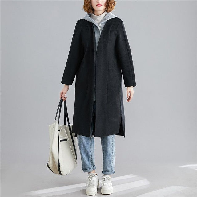 New Winter Woolen Coat Loose vintage Quilted two-piece hooded Trench Coat