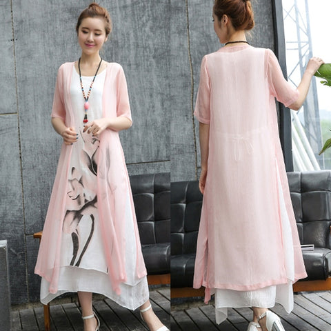 New Summer Dress Ink painting Casual large size loose female Vestidos Robe Dress