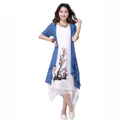 New Summer Dress  Fake two piece Dress loose big Size Vestidos Elbise Robe M-4XL