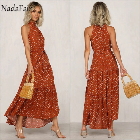 Polka Dot Maxi Dress Women's Boho Tunic Belt Lace Up Sexy Off Shoulder A-Line Summer Beach Dress - SexyHeksieLingerie