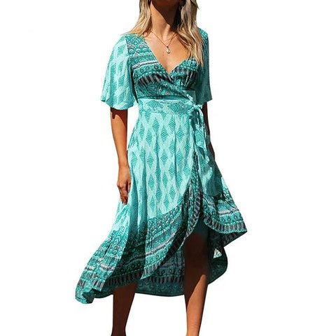 Floral Summer Dress Women Sexy V Neck Lace Up Tunic Vintage Printed A-Line Dress - SexyHeksieLingerie