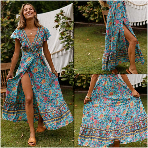 Vintage Floral Print Boho Dress Sexy Long Beach Summer Dress Vestidos Sash Lace Up Elegant Party Maxi Dress - SexyHeksieLingerie