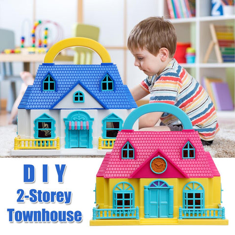 New Arrival Detachable Hand-held DIY 2-Storey Townhouse Play House DollHouse Kid Child Toy