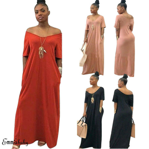Casual Women's Solid Color Long Maxi Dress Plus Size S-3XL Beach Cover-up - sexyheksie