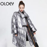 Loose Big Size Irregular Winter Jacket Bandage High Collar Full Sleeve Women's Long  Coat Q536 - SexyHeksieLingerie