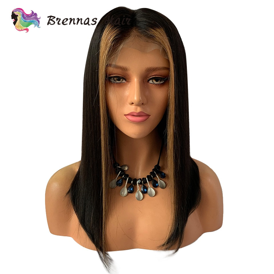 Ombre straight short bob lace front wig #27 honey blonde highlight with natural black color human hair wig - SexyHeksieLingerie