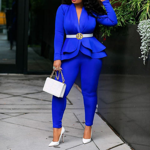 Plus Size Office Ladies  2 two piece set Top and Pants Elegant Female Casual Business Suit Set - SexyHeksieLingerie