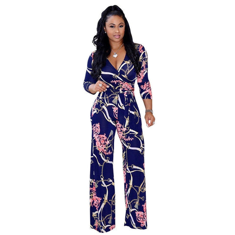 Plus Size Women's Jumpsuit Floral print V-Neck Long Sleeve Bodycon Playsuit Casual clubwear - SexyHeksieLingerie