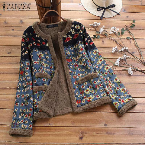 Plus Size ZANZEA Women Vintage Floral Printed Coats Winter Long Sleeve Plush Fluffy Jackets Autumn Outwear Open Front Chaqueta - SexyHeksieLingerie