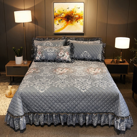 Premium 3/5 Pieces Coverlet Set Full/Queen/King Size Diamond Quilted Soft Luxurious Velvet Bedspread Pillow shams with Ruffles