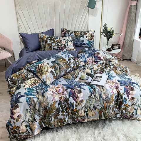 Pure Egyptian Cotton Bedding set Tropical Leaves Flowers Duvet cover set Silky Soft Queen King Bed sheet Quilt Cover Pillowcases - SexyHeksieLingerie