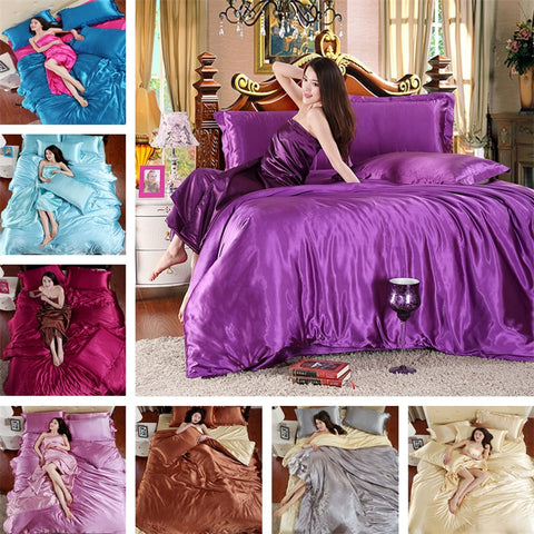 Pure satin Chinese silk bedding set Home Textile  bed set Silky Duvet cover set - sexyheksie