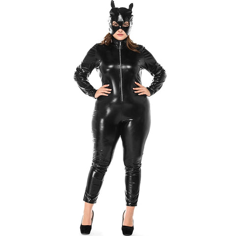 Sexy Cat Women Latex Catsuit Black Wet Look Faux Leather Bodysuit Erotic Bodycon Jumpsuit Lingerie High Stretch Plus size 3XL