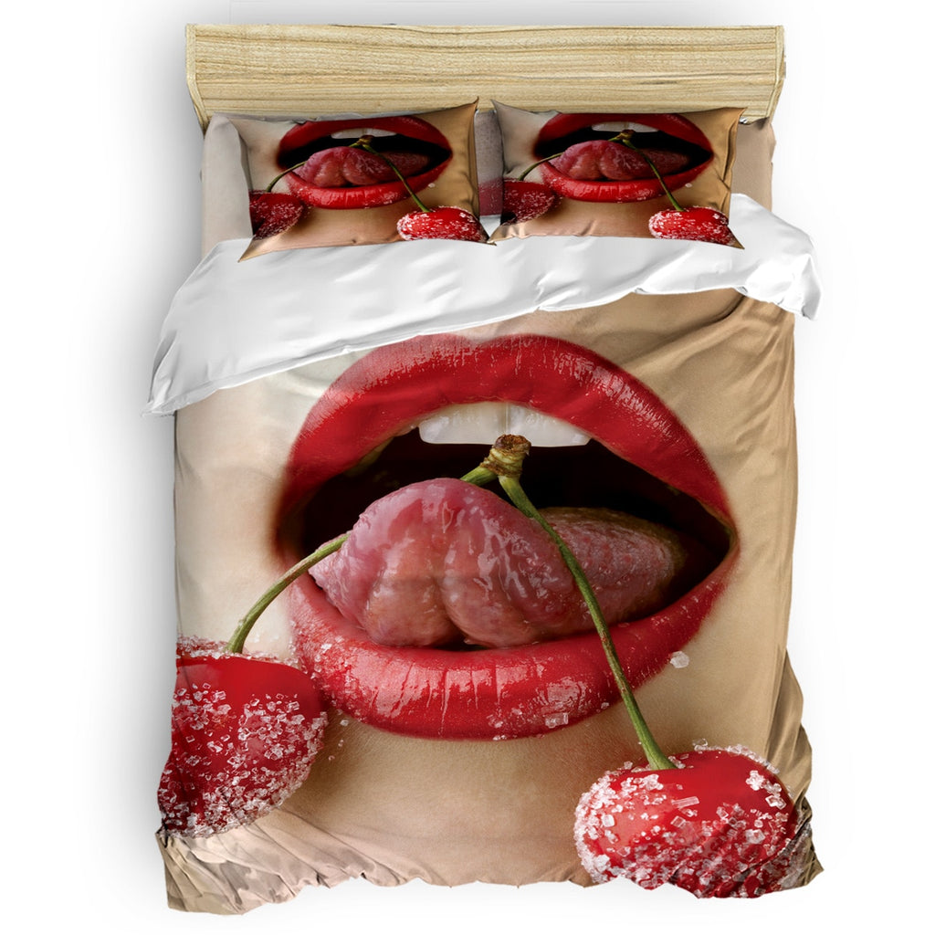 Sexy Lips Red Cherry 4 Pcs Comforter Cover Set Duvet Cover Bedding Set - sexyheksie