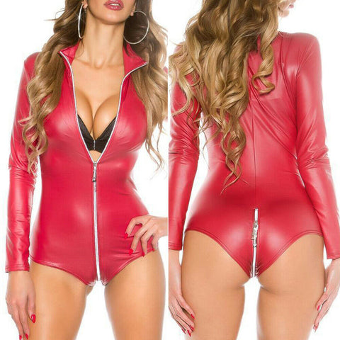 Sexy Women's Wetlook PU Leather Bodysuit  Leotard  Top Female Zipper Jumpsuit Clubwear Romper