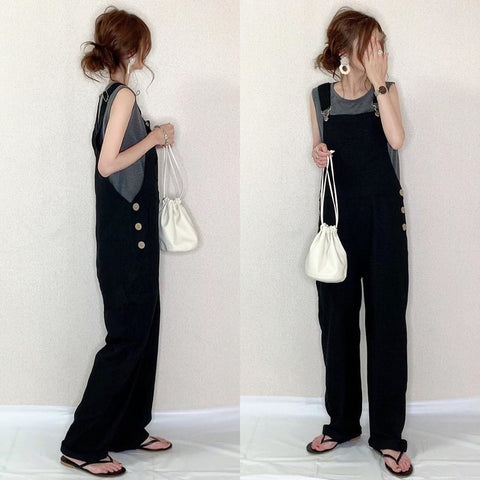 Black Jumpsuit Simplism Casual Loose bib Overall Japan/ Korean Style Jumpsuit - SexyHeksieLingerie