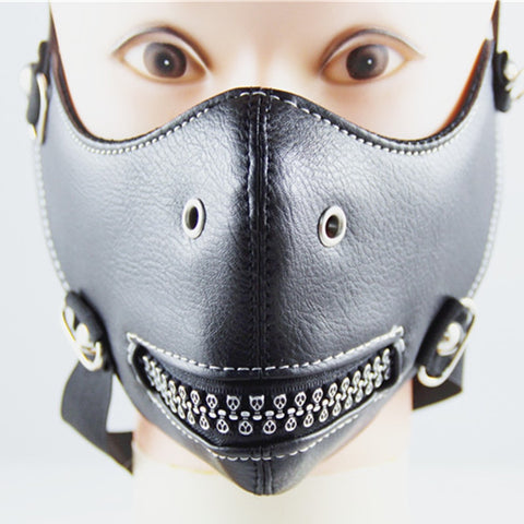 Skull Teeth Fashion Motorcycle Punk Rock Face Mask Hip-hop Halloween Party Leather Mask - SexyHeksieLingerie
