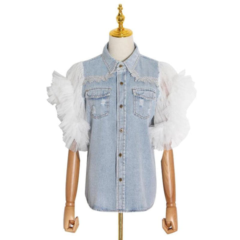 Patchwork Ruffle Denim Jacket Female 2020 Spring Clothing