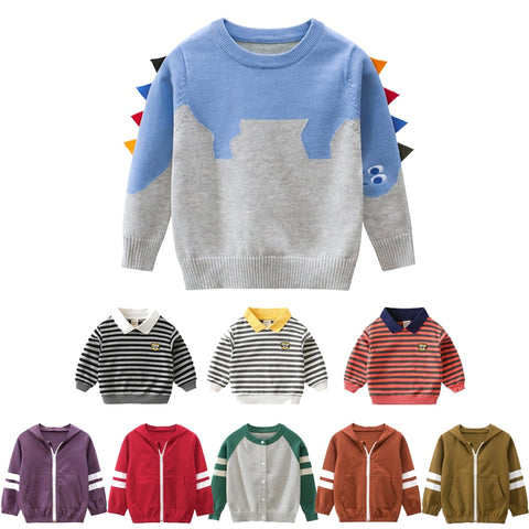 Toddler Baby Boy Sweater Cartoon Striped Autumun Winter Kids Bebe Girl Knit Sweaters Cute Tops Warm Clothes - SexyHeksieLingerie