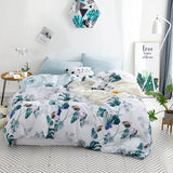 Tropical Rainforest Banana Leaf Design Washed Cotton Bedding Set Nordic Simple Duvet Cover Pillowcase Home Bedroom Living - SexyHeksieLingerie