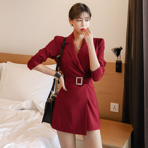 Vintage Single-Button Office Ladies Blazer Playsuit Long Sleeve Notched Jumpsuit /Romper - SexyHeksieLingerie