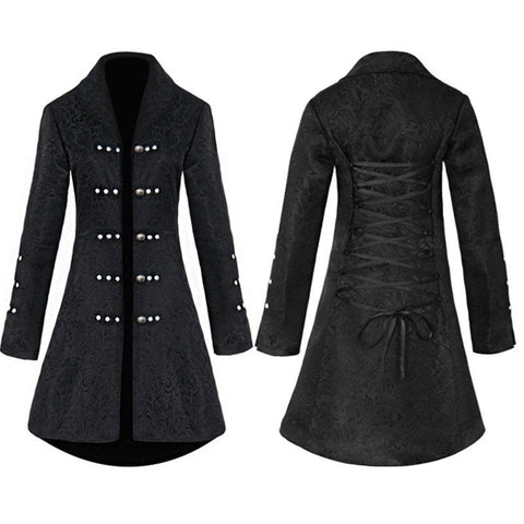 Vintage Steampunk Gothic Style Cotton Jacket Rivet Tuxedo Coat  Brocade Jacquard Slim Dovetail Coat