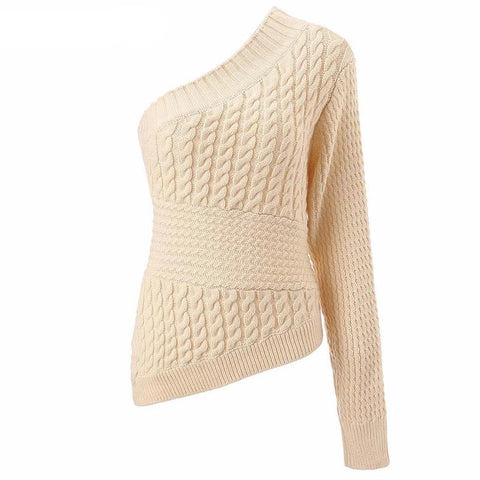Warm Women One Shoulder Knitted Sweater Twist Fashion Pullover Slim Casual Ladie Knitwear Pullover