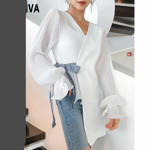 White Irregular  Blouse Fashion Patchwork V Neck Top Elegant Office Lady Long Sleeve Cardigan Top