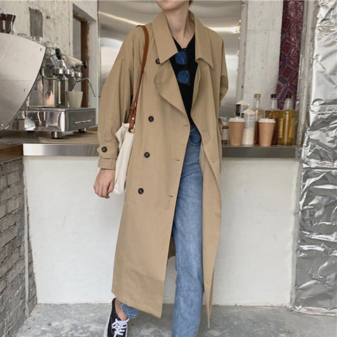 Windbreaker Autumn Korean Style Coat Women's Double Breasted Long Sleeves Female Maxi Coat - SexyHeksieLingerie