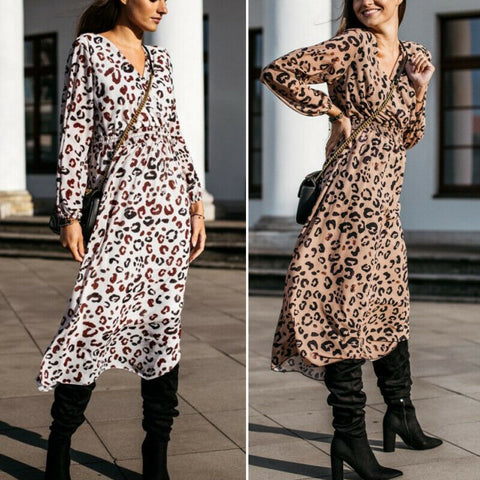 Women's Autumn High Street Leopard Dress  Long Sleeve Tunic Dress vestidos Party Cocktail Clubwear Midi Dress