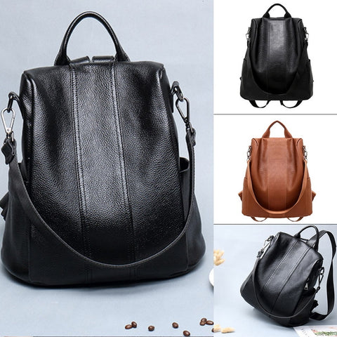 Women Backpack Anti-theft PU Leather Backpack Female Double Shoulder School Bag Travel Shoulder Bag - SexyHeksieLingerie