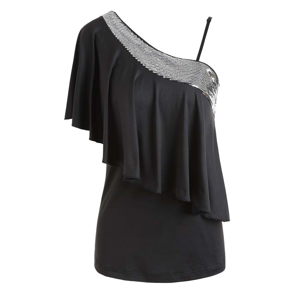 Women Black Fashion Blouses One Shoulder Sexy Sequins Ruffle Blouse Top - sexyheksie