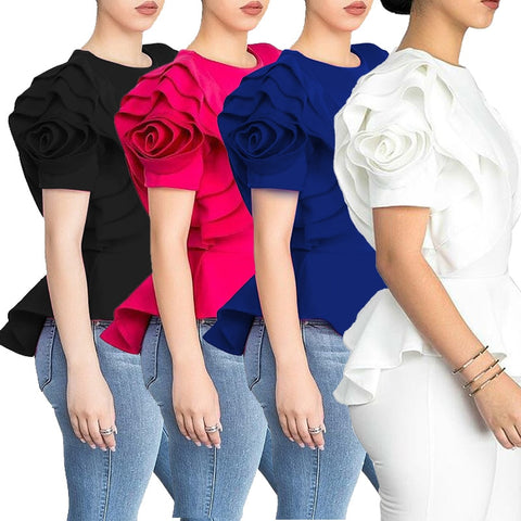 Women's Blouse Top Shirt Layers Petal Sleeves Elegant Fashion Spring Summer Rose Cocktail Office  Classy Top - sexyheksie