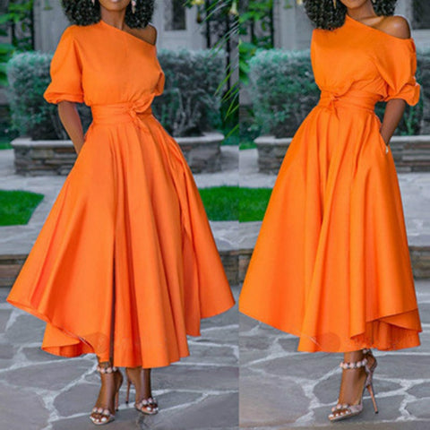 Women's Dress One Shoulder with Waist Belt Long A Line Pleated Orange Casual Fashion  Elegant Dress - sexyheksie