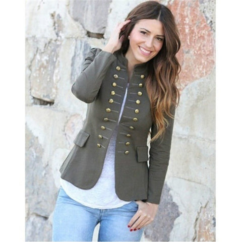 Fashion Jacket Blazer  Double Breasted Long Sleeve Button Notched Office Lady Blaser