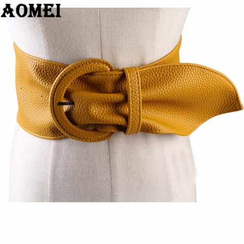 Women's Fashion Wide PU Leather Belt for Dresses Blouse Buckle Ladies Western Trending Design  Long Belt - sexyheksie