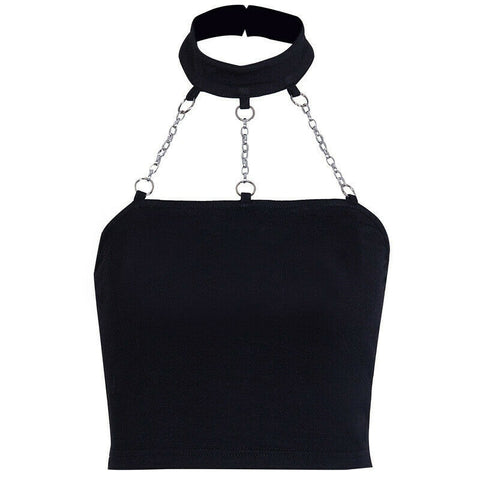 Women's Girls Punk Style chain Tank Top Ladies Choker Halter Top Women Camis Buckle Crop Top Summer Vests Clubwear