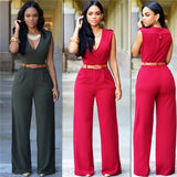 Women's Jumpsuit V-Neck Sleeveless Wide Leg High Waist Casual  Fashion with Waist Band Elegant Jumpsuit - SexyHeksieLingerie