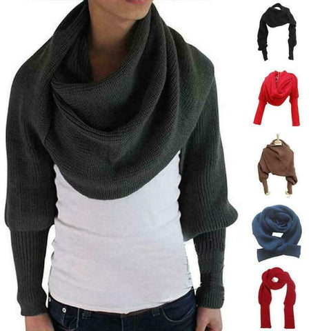 Women's Knitted Sweater Scarve  Winter Woolen Scarf with Sleeve Wrap Winter Warm Shawl