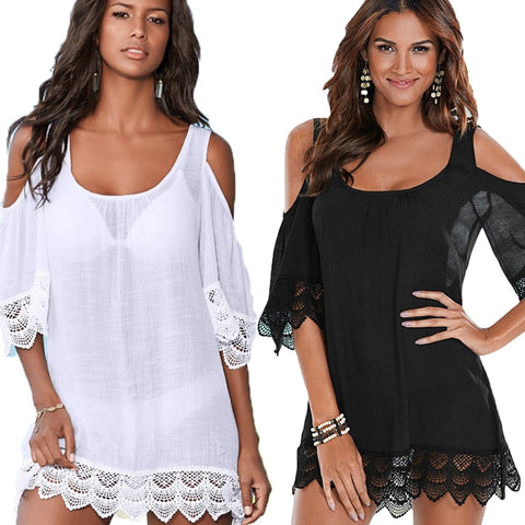 Women's Black /White Short Beach Dress Cover Up Cold Shoulder Lace Bikini Cover Up Beachwear - SexyHeksieLingerie