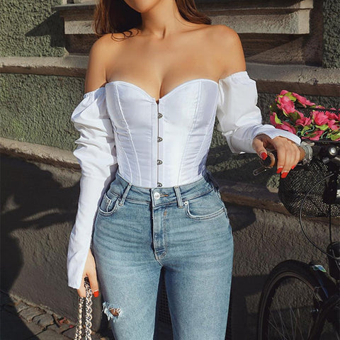 Women's Waist Shaping  Corset Blouse  Long Sleeve Shirt Body Shaper Tummy Control Waist Retro Blouse - SexyHeksieLingerie