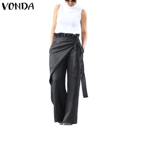 Women's Wide Leg Pants VONDA Female Casual Elastic Waist Pants Women's Trousers Plus Size Bottoms  S-5XL