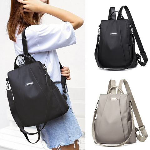Women's Fashion Detachable Shoulder Strap Shoulder Bag Backpack Casual Nylon Solid Color School Bag - SexyHeksieLingerie
