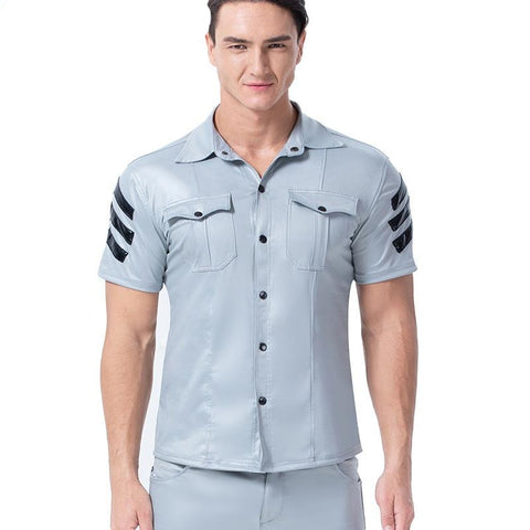 XX158 S-3XL  Faux Leather Men's Sexy Short Sleeve Shirt - SexyHeksieLingerie