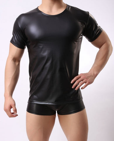 XX76 Summer Style Black Faux Leather Men's Sexy Lingerie Fitness Top T-Shirt - SexyHeksieLingerie