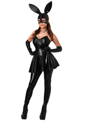 YQ115 2018 Sexy Adult Nightclub Role Play Bunny  Women's Semi Masked Face Rabbit Ears DS Costume With Leather Pants - SexyHeksieLingerie