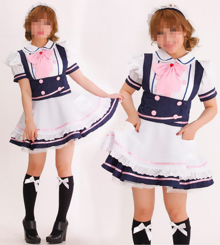 YQ127 Japan Restaurant Servant Sexy Pinafore Dress Short Sleeve Maid Role-Playing Cosplay Costume - SexyHeksieLingerie