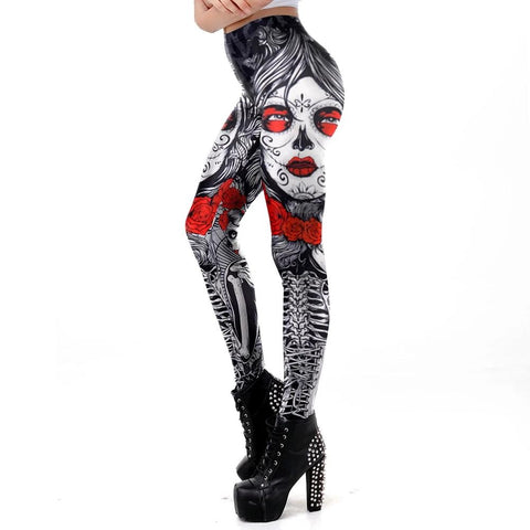 New Leggins Halloween Sugar Skull Leggings For Women Girl Rose Print Fantastic Workout Party Ankle Pants