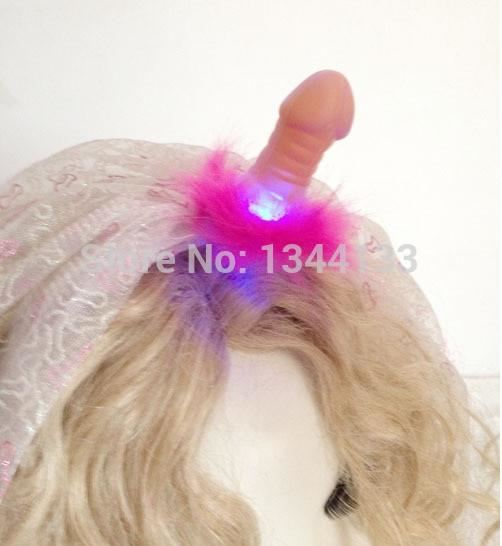 Batchelorette Flashing Willy Headband with Glitter 54cm Veil Hen Party Supplies - SexyHeksieLingerie